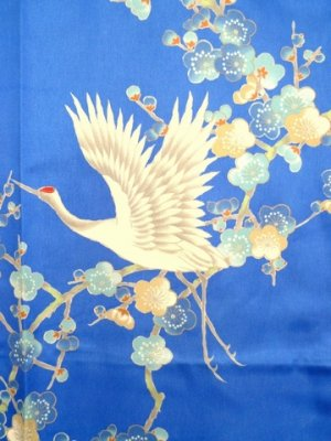 Photo3: Girls' 25inch / Japanese Kimono Robe -umetsuru- blue, Polyester - SPECIAL DISCOUNT