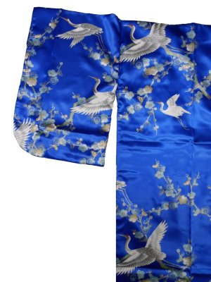 Photo2: Girls' 25inch / Japanese Kimono Robe -umetsuru- blue, Polyester - SPECIAL DISCOUNT