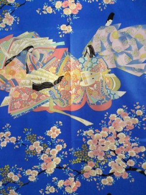 Photo2: Ladies' Japanese Short Happi -sakura ocho- Blue, Polyester, 35in / Dynasty in cherry blossoms